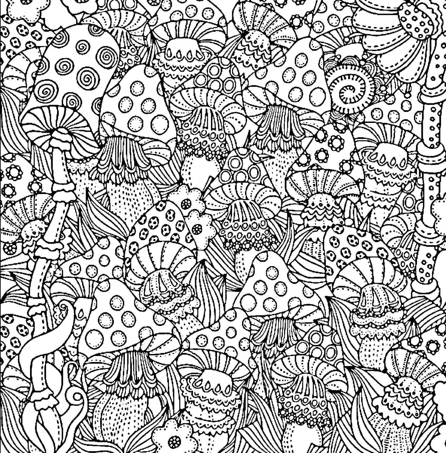 Difficult Coloring Pages For Adults Mushroom Coloring Page Designs Coloring Books Coloring Canvas Coloring Books