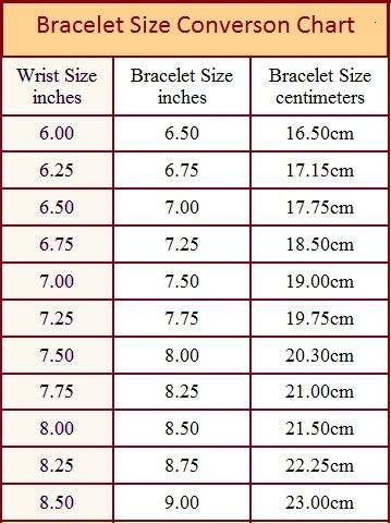 Bracelet Size Chart And How To Measure More