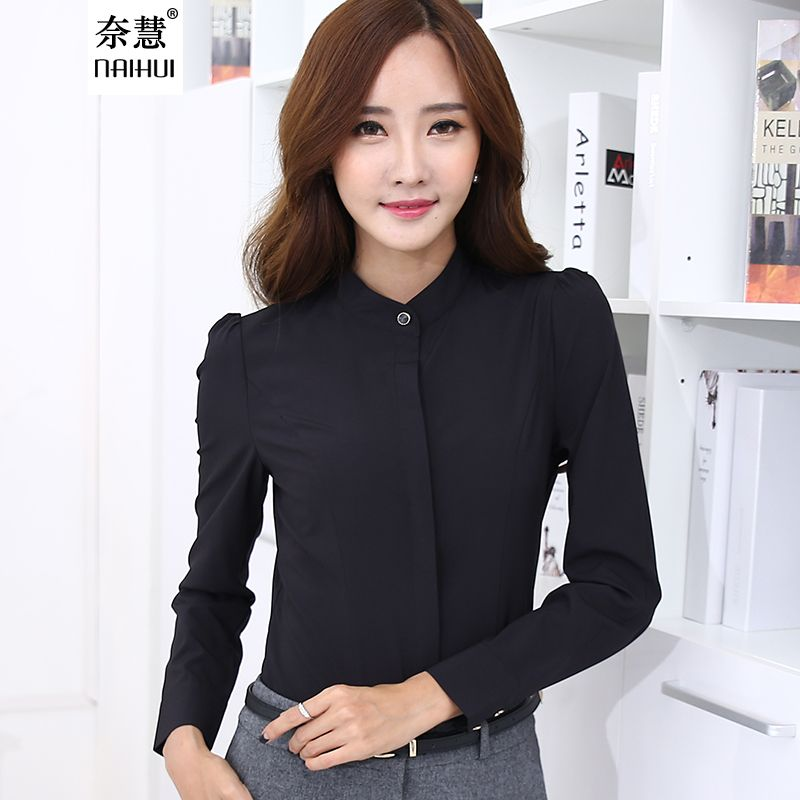 31b8fb8124 Cheap 2016 Otoño moda Negro Camisa de Las Mujeres ropa de trabajo de Manga  Larga…