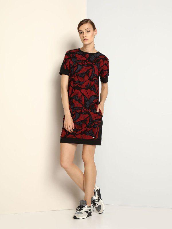 sukienka damska gładka czerwona - DSU0056 DRYWASH