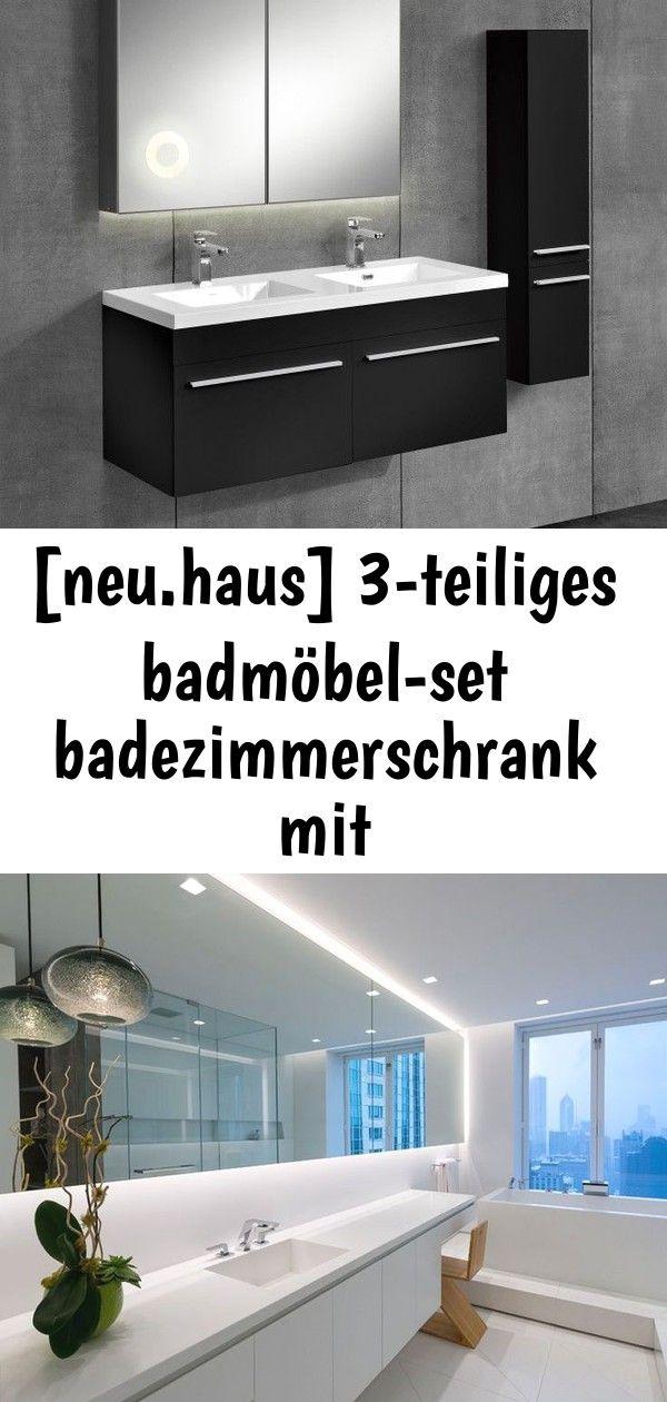 Neu Haus 3 Teiliges Badezimmerschrank Set Schwarz Mit Waschbecken