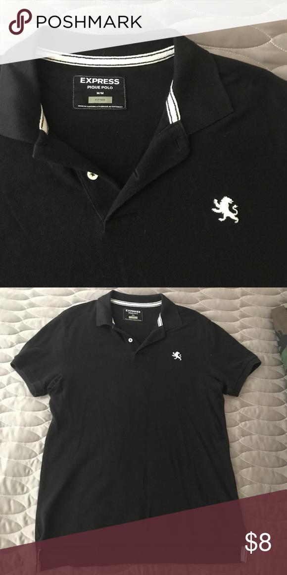 Black Express Polo With White Lion Logo Lion Logo Polos And Pique