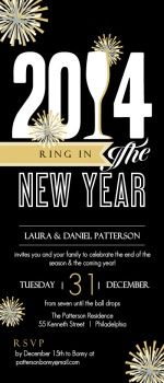 Black and Gold Fireworks New Year's Party Invitation - new year party invitations #newyear #newyearparty #purpletrail