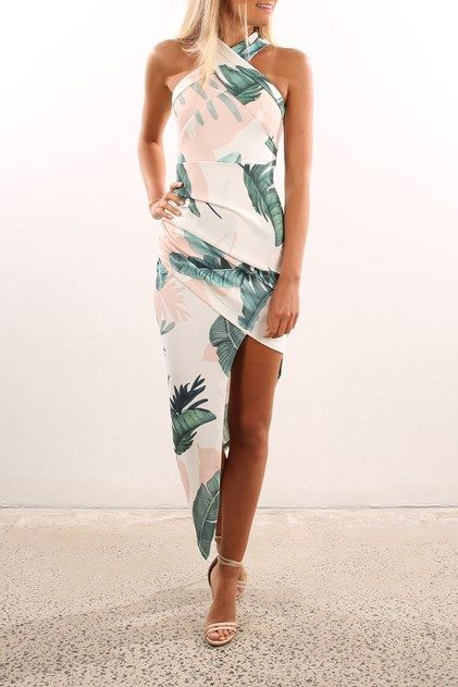 Mastermind Dress White Green Floral Wedding Attire Guest Beach Wedding Guest Attire Beach Wedding Outfit