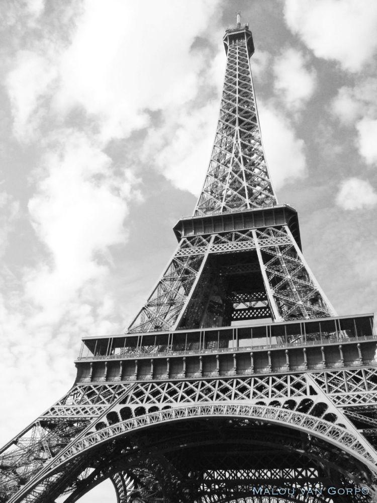 black and white eiffel tower paris france - zwart wit eiffeltoren