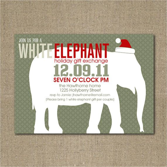 Printable White Elephant Christmas party invitation White elephant
