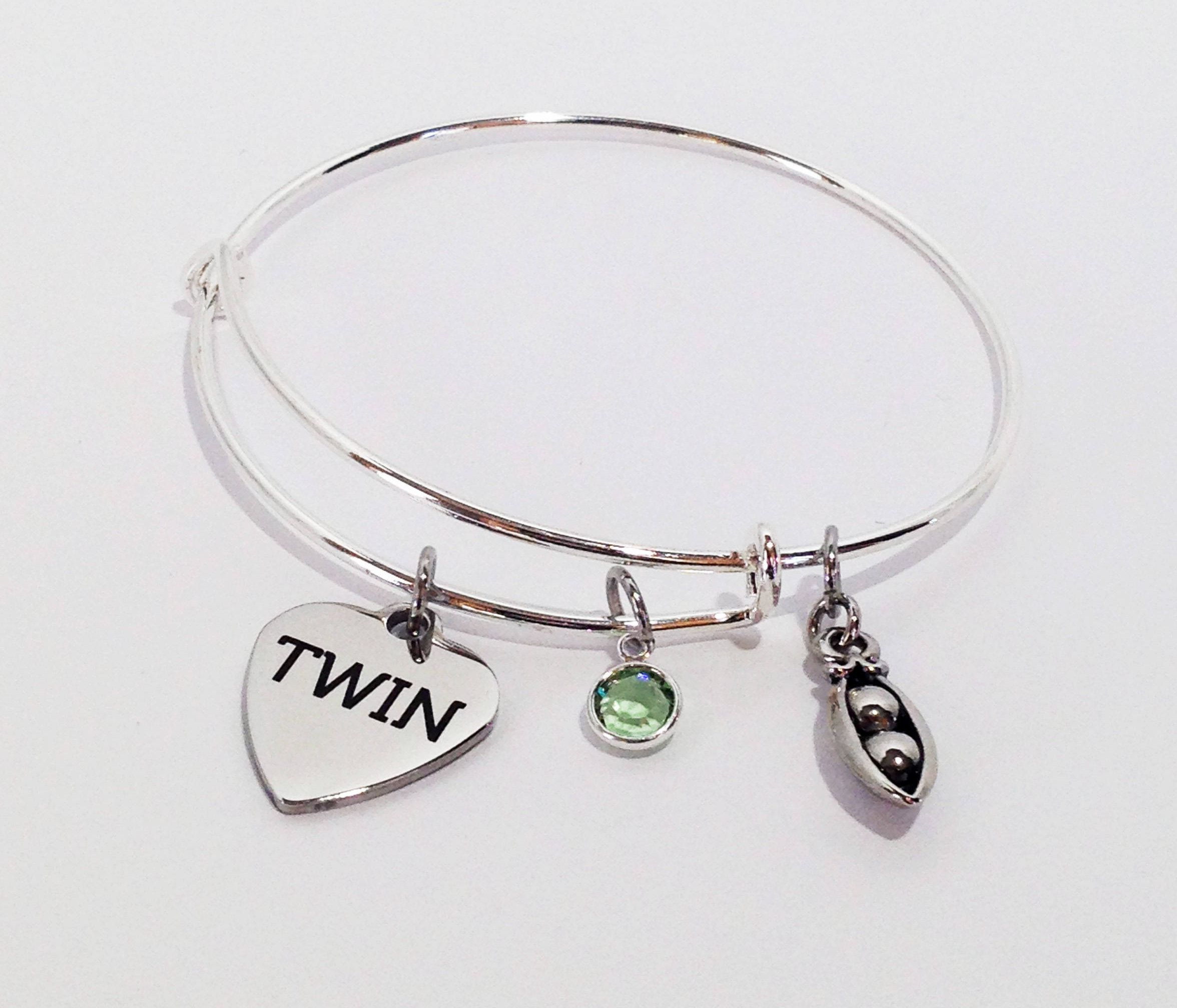 Twin Sister Gift Twins Birthday Jewelry Bracelet Christmas Two Peas In A Pod By