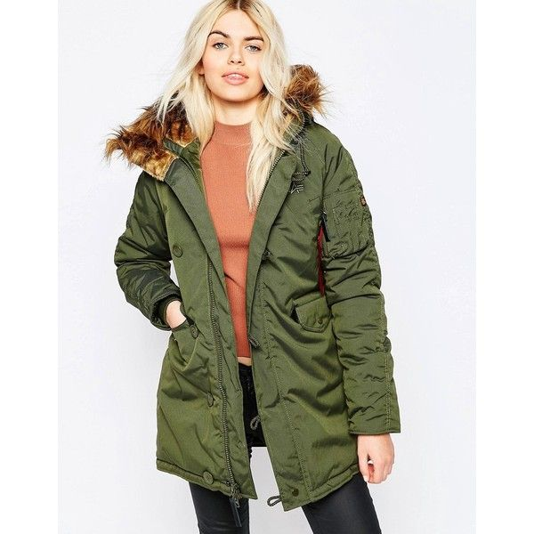 Alpha Industries Explorer Parka in Green with Faux Fur Hood