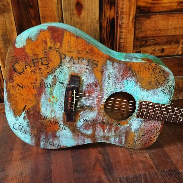 Deep South Re Creations From West Virginia Used Our Metal Effects For A Stylish Rust O Ration Of An Acoustic Guitar A Fr Guitar Painting Guitar Diy Guitar Art