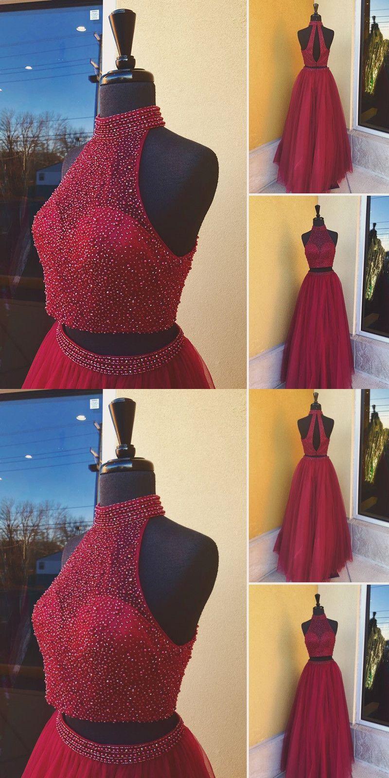 Elegant homecoming dress two piece burgundy prom dress sexy