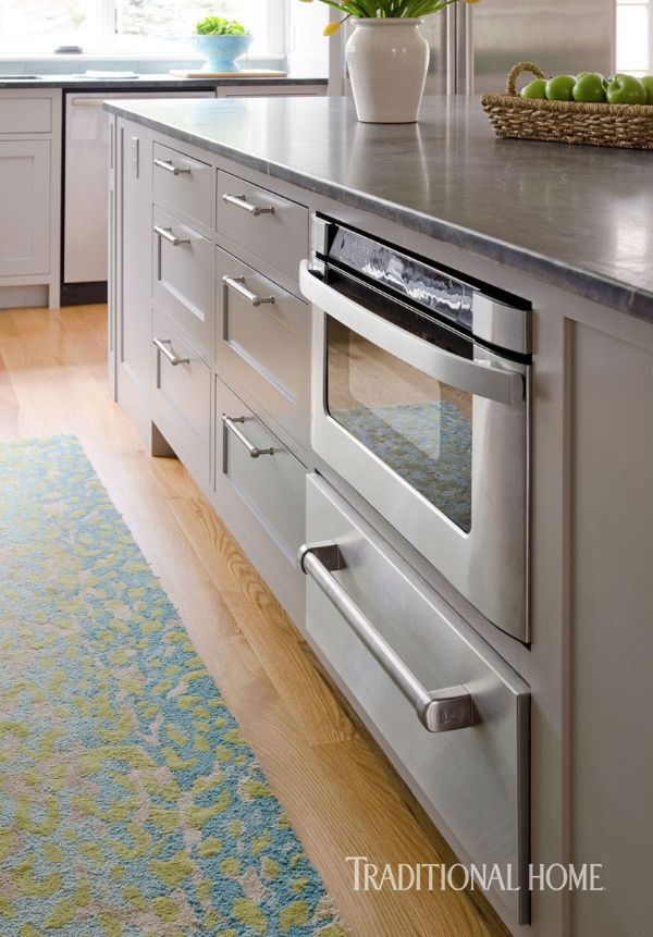 Coastal Kitchen with a Bright Bump-Out | Microwave drawer ...