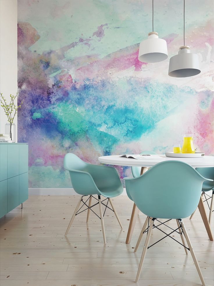 Cool Tones Watercolor Wall Mural / artistic peel and stick wallpaper wall mural / abstract temporary wallpaper 522