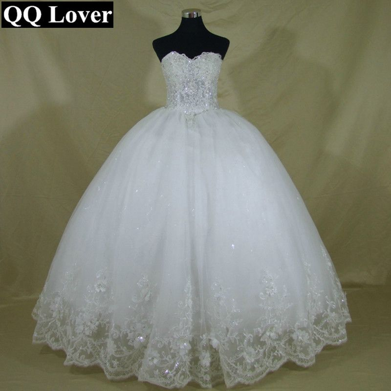 QQ Lover 2018 New Bling Bling Pearls Beaded Ball Gown Wedding Dress