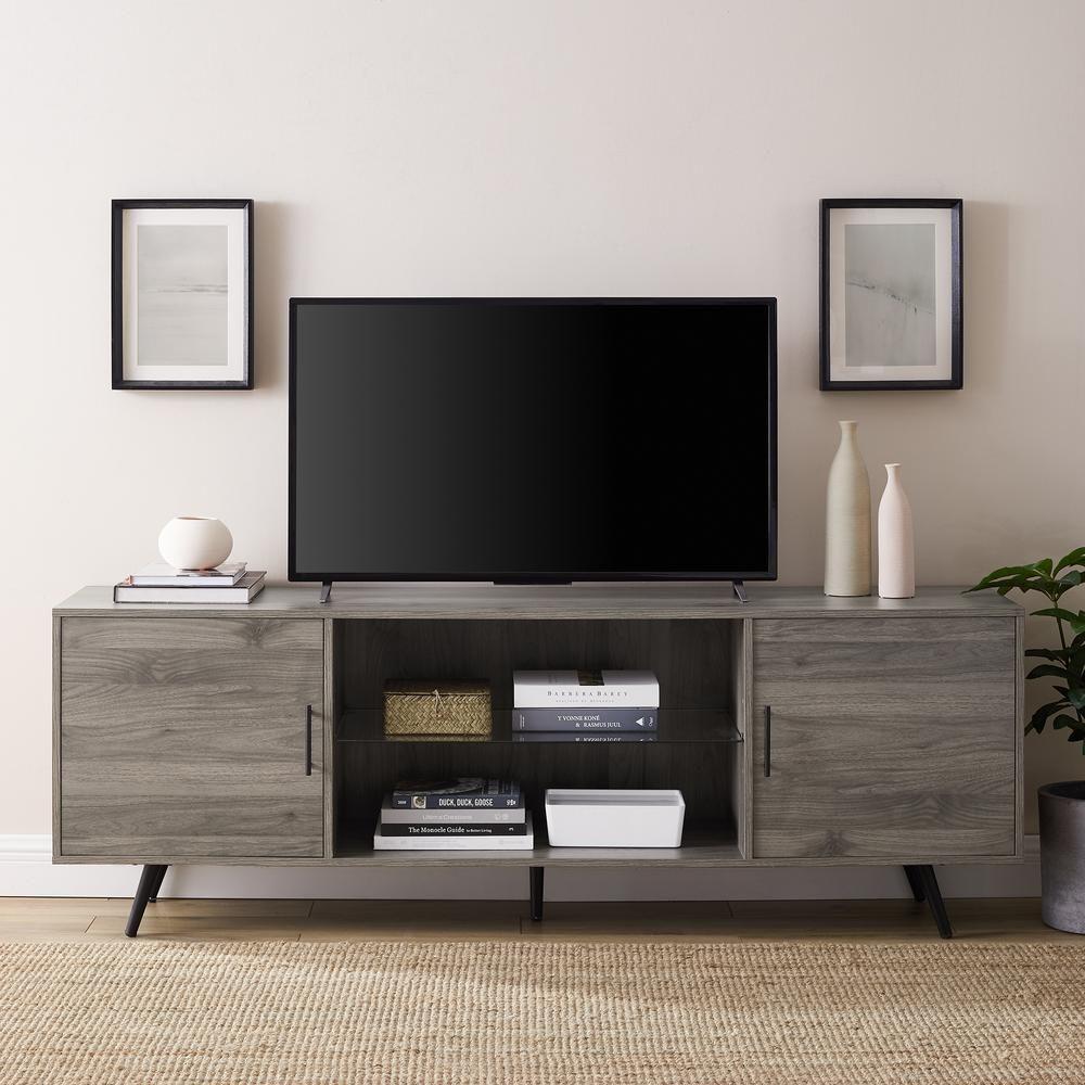 Walker Edison Furniture Company 70 In Slate Grey Mid Century Modern 2 Door Console Tv In 2020 Mid Century Tv Console Living Room Furniture Sale Living Room Furniture