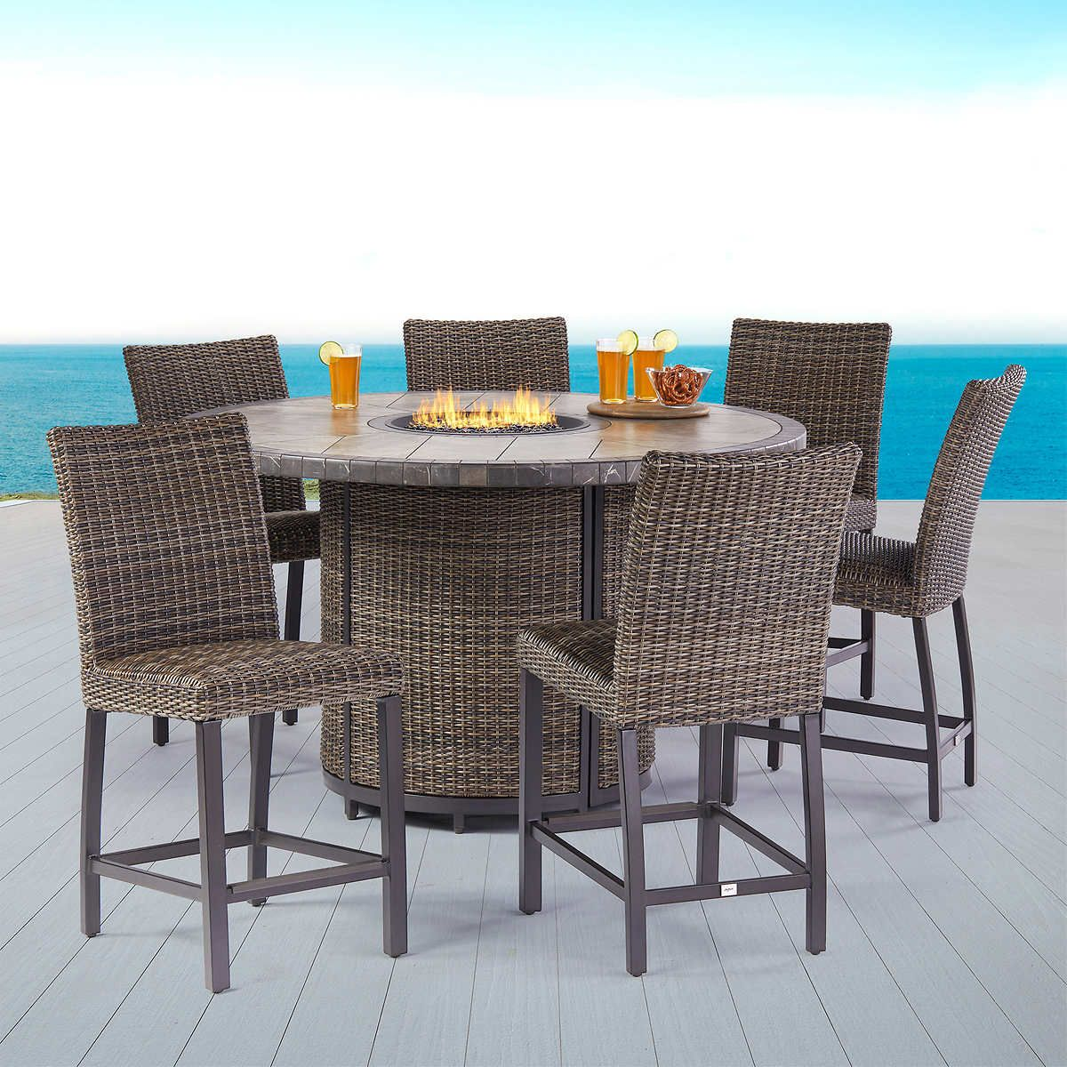 Springdale 7 Piece High Dining Set With Firetable In 2020 Dining