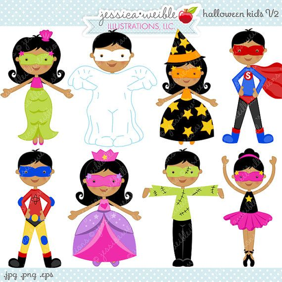 Halloween Kids V2 Cute Digital Clipart - Commercial Use OK ...