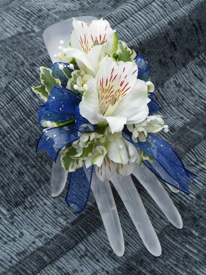 Alternative To Rose Garden: Prom Corsage With White Alstroemeria And Blue Ribbon