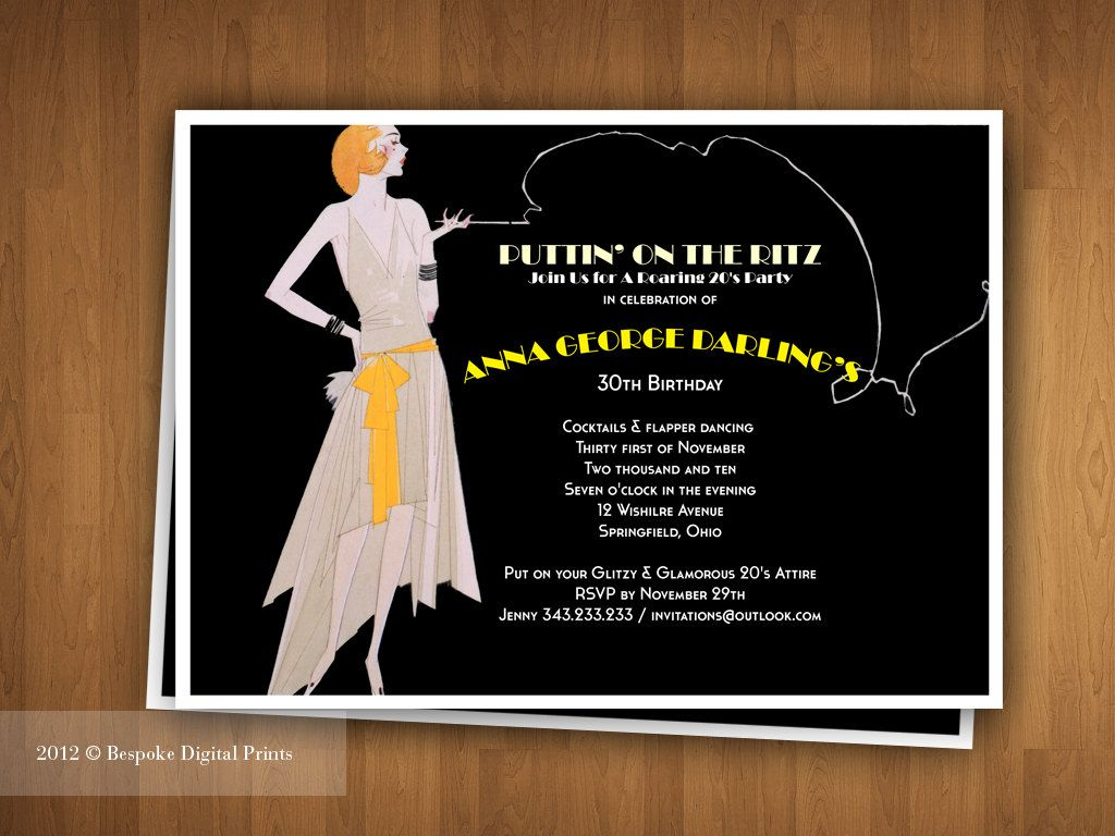 Puttin on the ritz roaring 20s jazz party digital printable items similar to puttin on the ritz roaring 20s jazz party digital printable invitation speakeasy prohibition 7 x 5 inches editable pdf on etsy stopboris Image collections