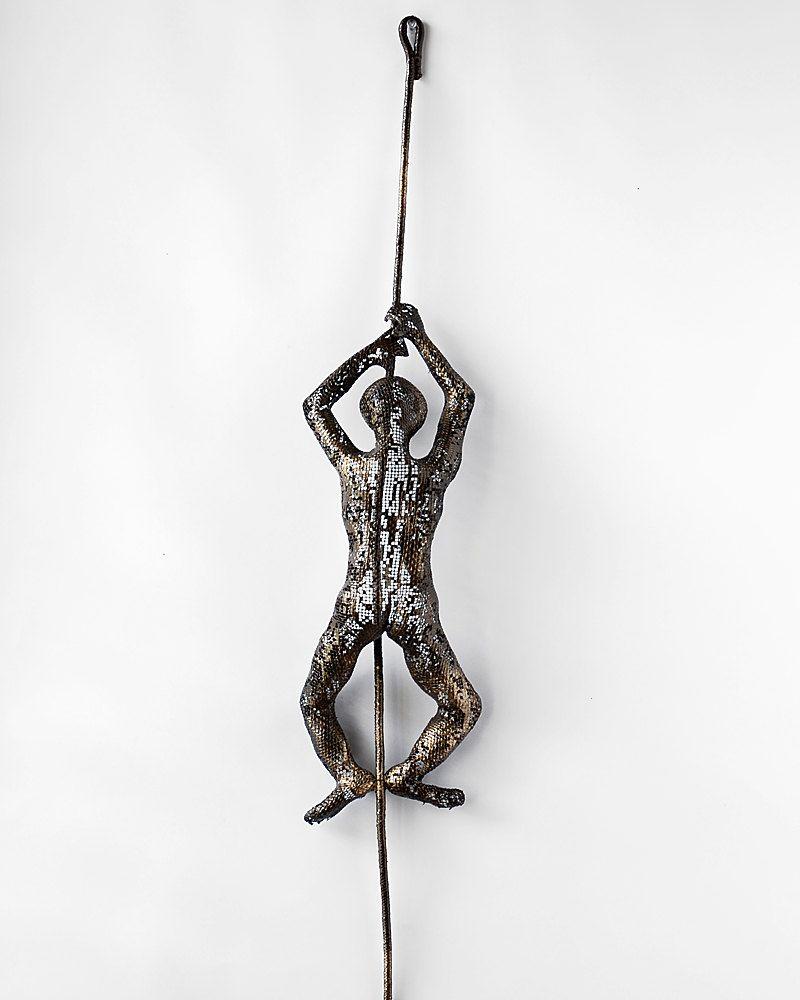 Metal wall art - Climbing man on rope - home decor - Metal sculpture - home decor - Contemporary wall art. $99.00, via Etsy.