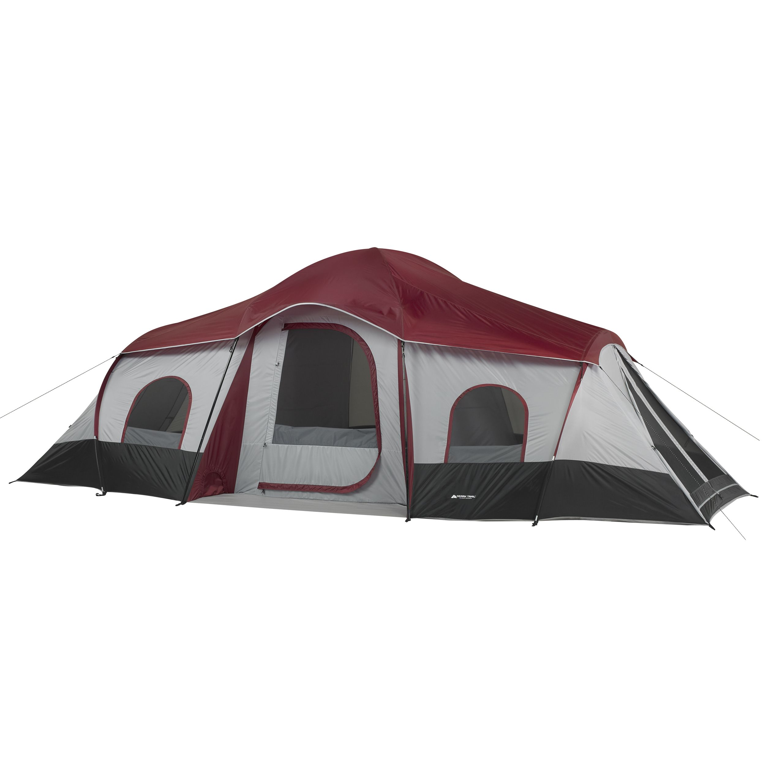 Ozark Trail 10 Person 3 Room Cabin Tent With 2 Side Entrances Walmart Com Best Tents For Camping Cabin Tent Family Tent Camping