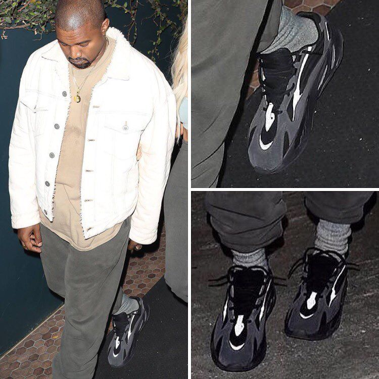 3357ca9b8 ... Another New adidas Yeezy Wave Runner 700 Spotted On Kanye Wests Feet ...