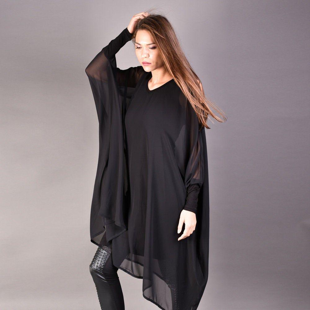 Black Blouse Black Tunic Top Elegant Top Summer Top Extravagant Top Fashion Wear Off Shoulder Top Plus Size Clothing Black Party Top