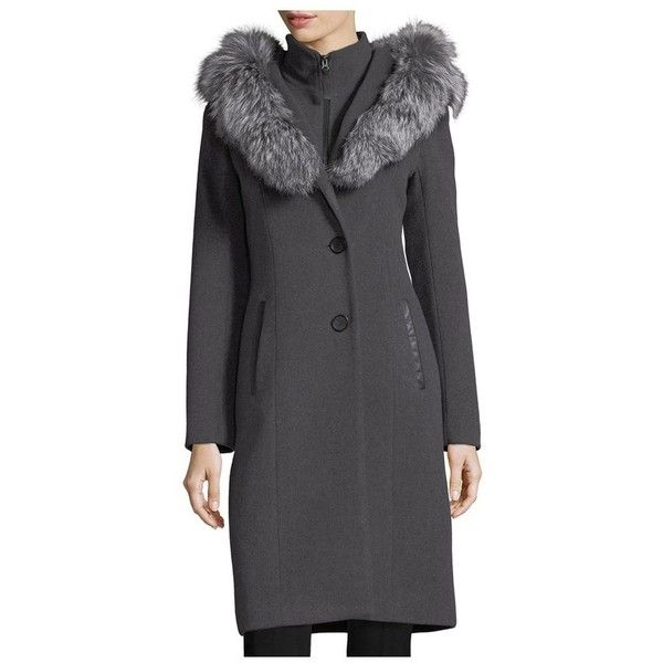 Mila Button-Front Hooded Wool Trench Coat w/ Fur Trim Mackage Marketable For Sale Outlet Get Authentic h4NPT