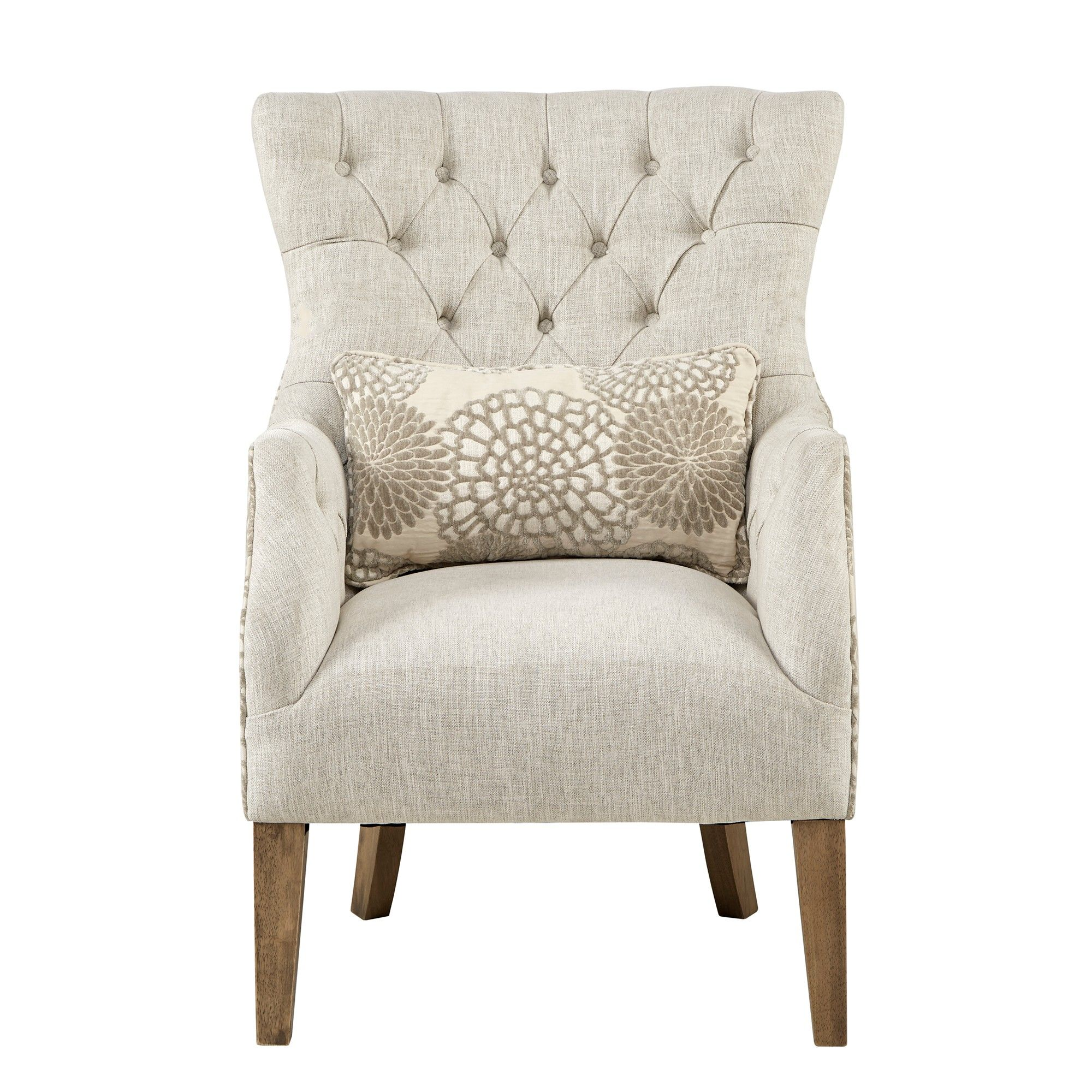 Chapman Accent Chair with Back Pillow Beige Accent