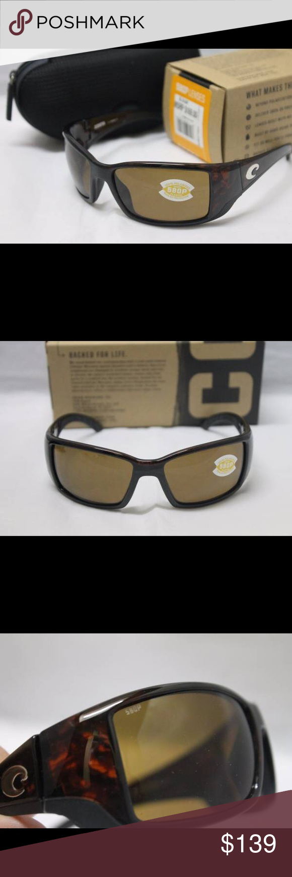 Costa Del Mar Blackfin 580P Polarized Sunglasses Brand new in the box Costa Del Mar Sunglasses.  100% authentic direct from Costa.  Model:  Blackfin Frame Color:  Tortoise Lens Color:  580P Amber POLARIZED Model Number:  BL10OAP MSRP:  $169 + tax  Included:  Sunglasses, Costa box, Costa zippered case, paperwork & sticker  Great pair of Polarized Costas  Many other glasses posted with new Costa styles added each week..  Thank you for looking and have a wonderful day! Costa Del Mar Accessories…