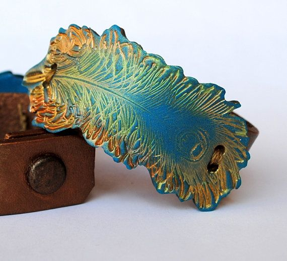 Peacock Feather awash in Gold bracelet leather by studiotambria, $21.00