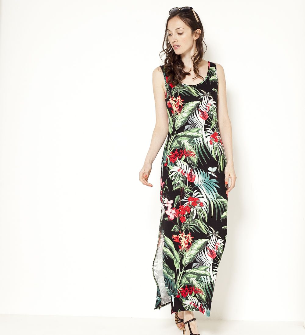 Imprimé Dresses Robe Tropical Camaïeu Longue 2017Best Of sQrthBdCx