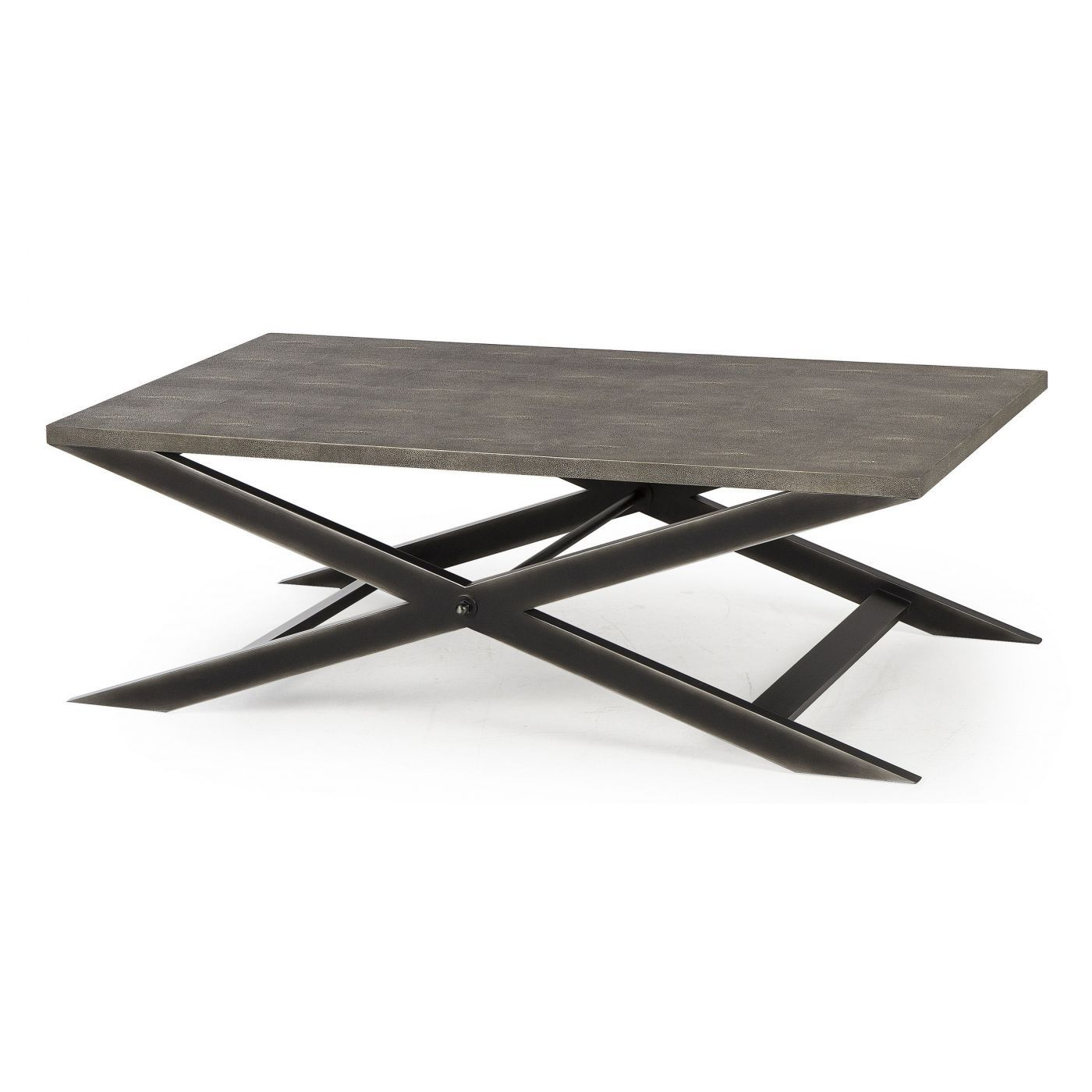 Andrew Martin s iron x leg framed coffee table with faux shagreen