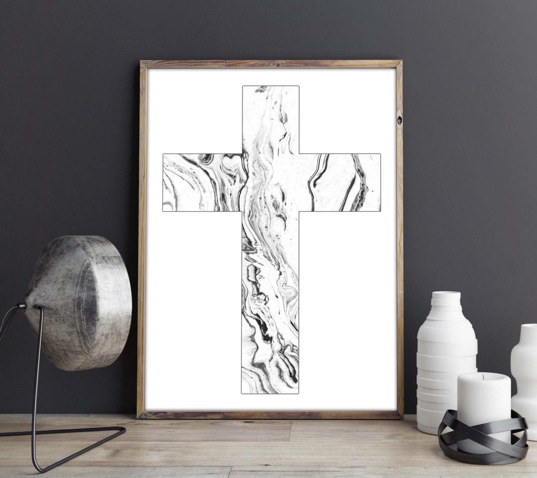 christian cross decor geometric wall art print scandinavian modern
