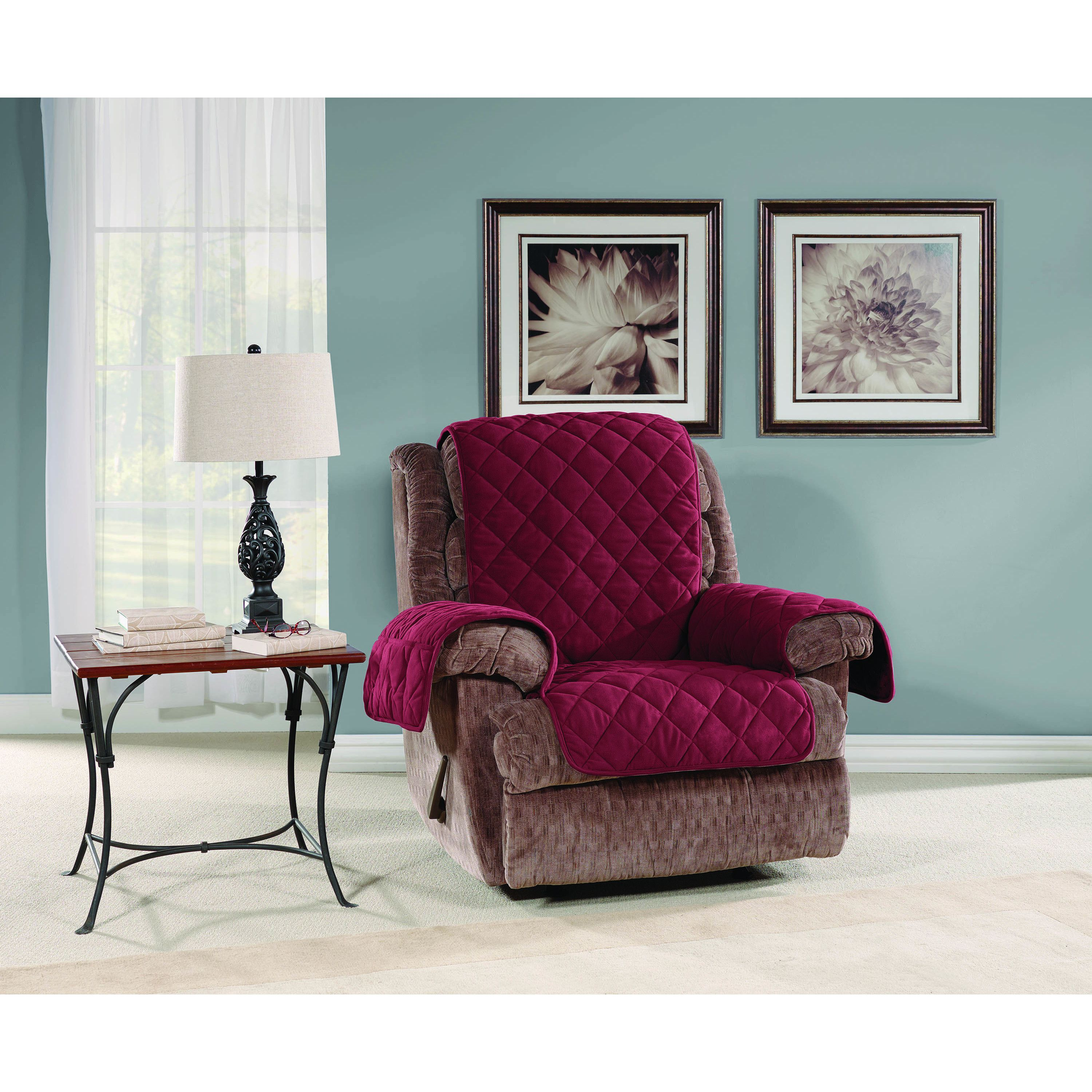 Burgundy dining room chair covers - Sure Fit Micro Fleece Recliner Furniture Protector Burgundy Red Solid