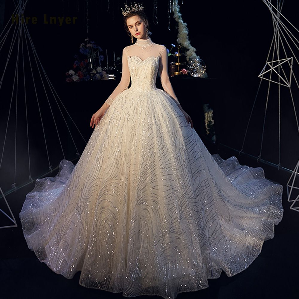 Robe De Mariee Princesse De Luxe 2019 New Arrive High Neck Open Back Long Sleeve All Over Sequins Luxury Ball Gown Wedding Dress    !!!Attention!!! valid discount 18% buy now for: 281.86$ #greekweddingdresses