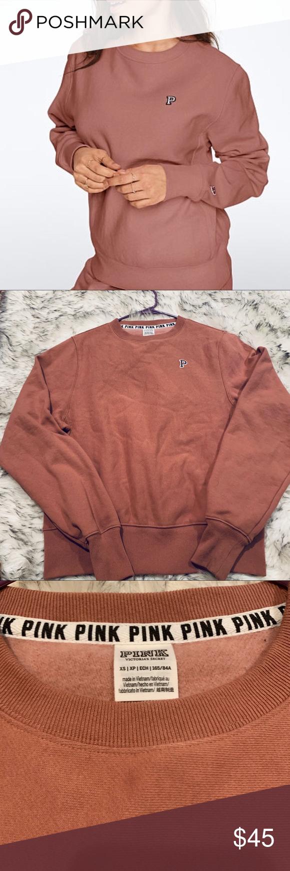 Vs Pink Pullover Crewneck Sweatshirt Xs Crew Neck Sweatshirt Sweatshirts Vs Pink [ 1740 x 580 Pixel ]