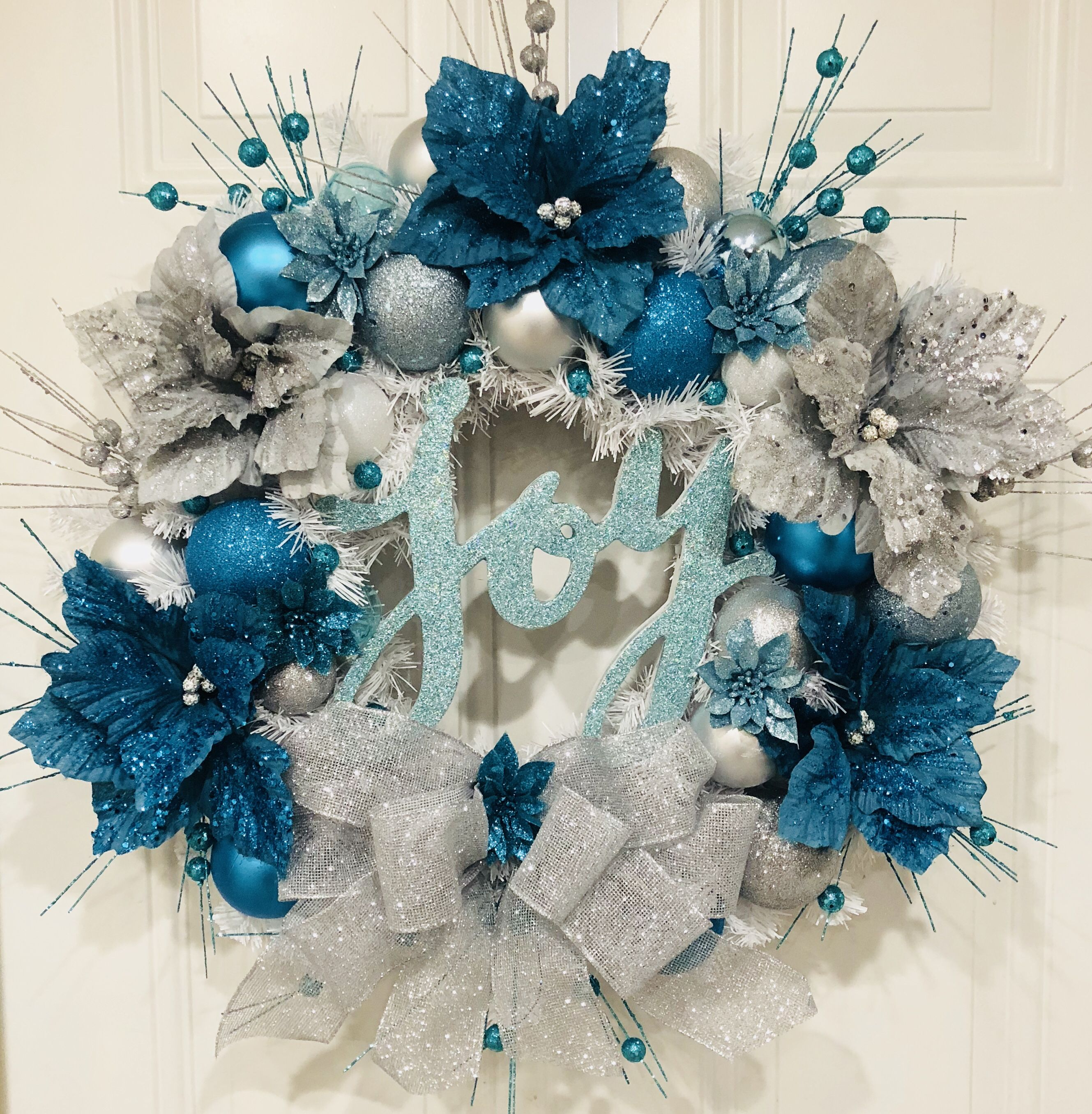 Winter Wreath Christmas Frozen  Blue Grey Silver Wreath Deco Mesh