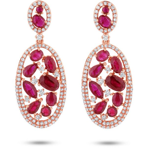 1.12ct Diamond 4.62ct Ruby 14k Rose Gold Earrings (74 305 UAH) ❤ liked on Polyvore featuring jewelry, earrings, 14k rose gold jewelry, ruby earrings, diamond jewellery, rose gold diamond jewelry and earring jewelry