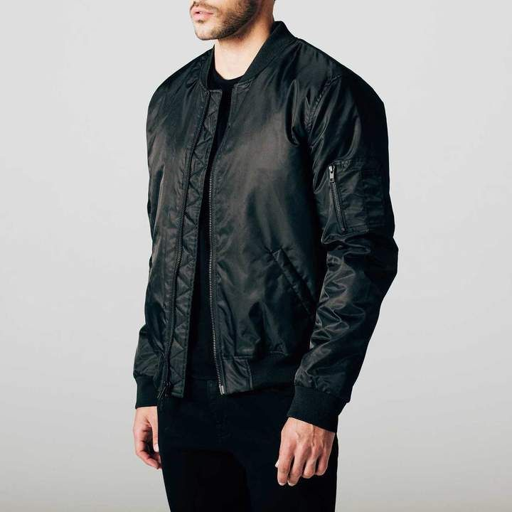 17b2e5e22ba DSTLD Mens Nylon Bomber Jacket with Black Zippers in Black