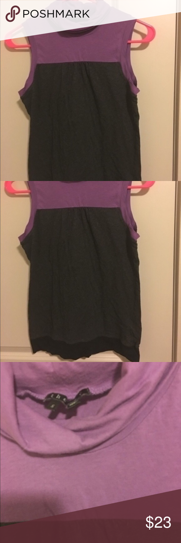 💕Theory top Theory top size small made in Peru. Material is cotton & spandex. This is a high quality designer top. It has color block style  with purple, gray, and black. This is turtle neck style and sleeveless. It is semi longer in length making it great with leggings also works nice under a sweater. This is in excellent preowned shape Final sale no returns Theory Tops