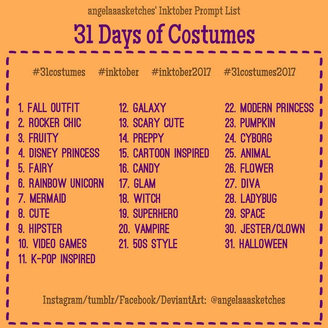 Image Result For Inktober Halloween Prompt List Drawing Prompt