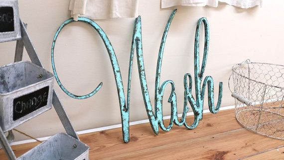 Rustic Wash sign shabby chic aqua wall hanging by ThePinkToolBox