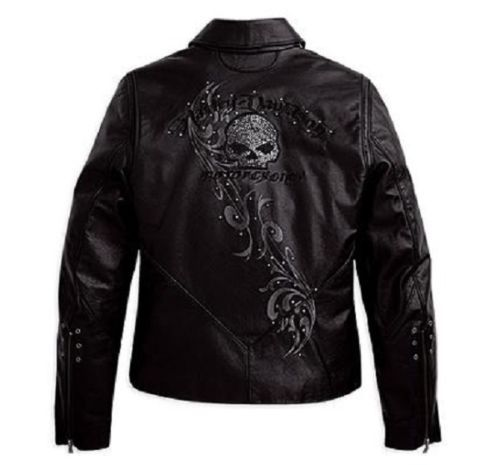 Harley Davidson Women's Wicked Swarovski Skull Black Leather Jacket 97123 09VW M | eBay