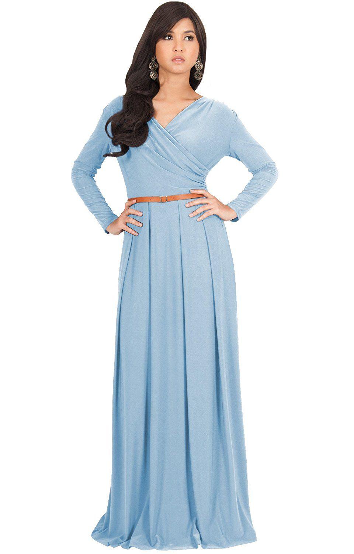 KOH KOH Womens Long V-Neck Full Sleeve Semi Formal Flowy ...