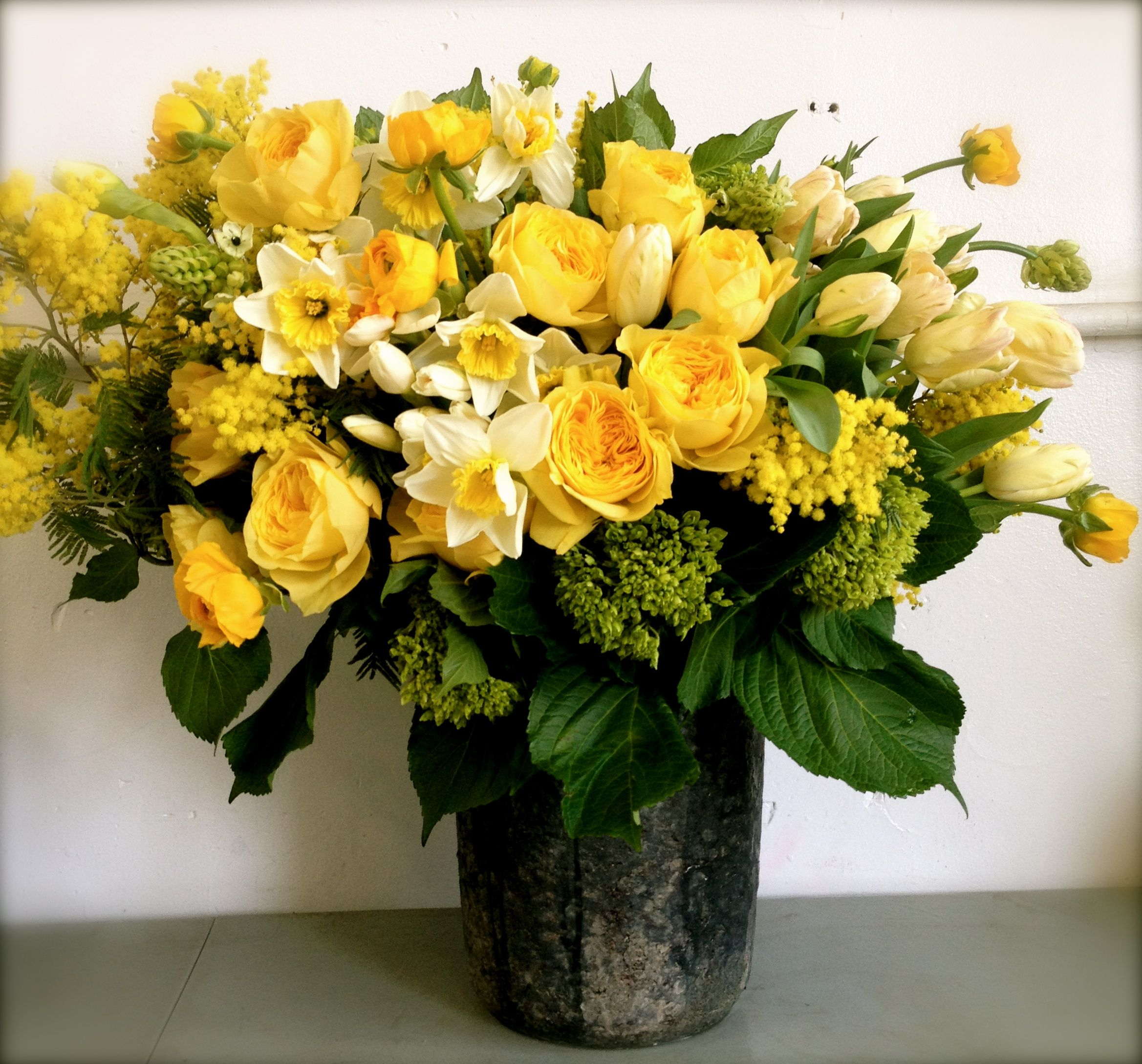 Arrangement by Botany including garden roses hydrangea