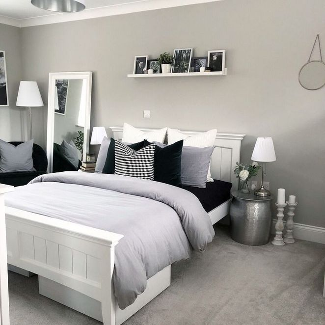 30 Finding The Best Black And White Bedroom Inspiredeccor White Bedroom Decor Bedroom Inspiration Grey Grey Bedroom Decor