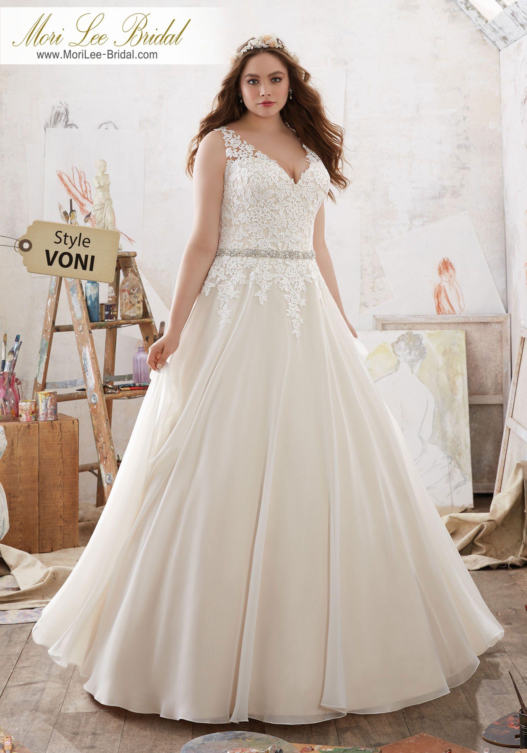 Style VONI Michelle Wedding Dress Frosted Venice Lace AppliquéŽs