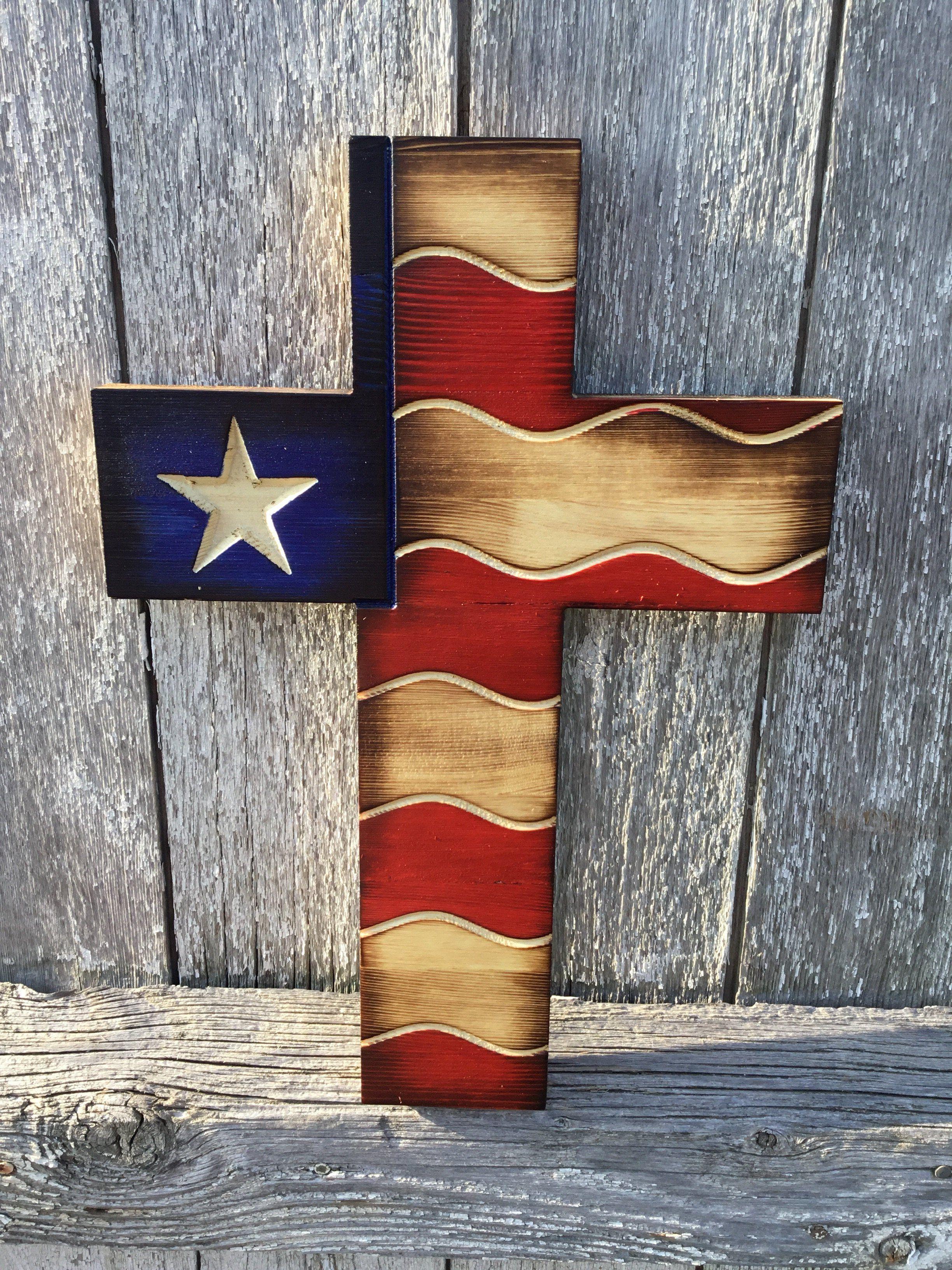 American flag cross wood crosses wooden crosses