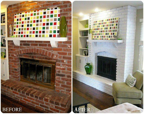 Brick Fireplace Makeover Contemporary Living Room Ideas Modern Home Decor Light Colors