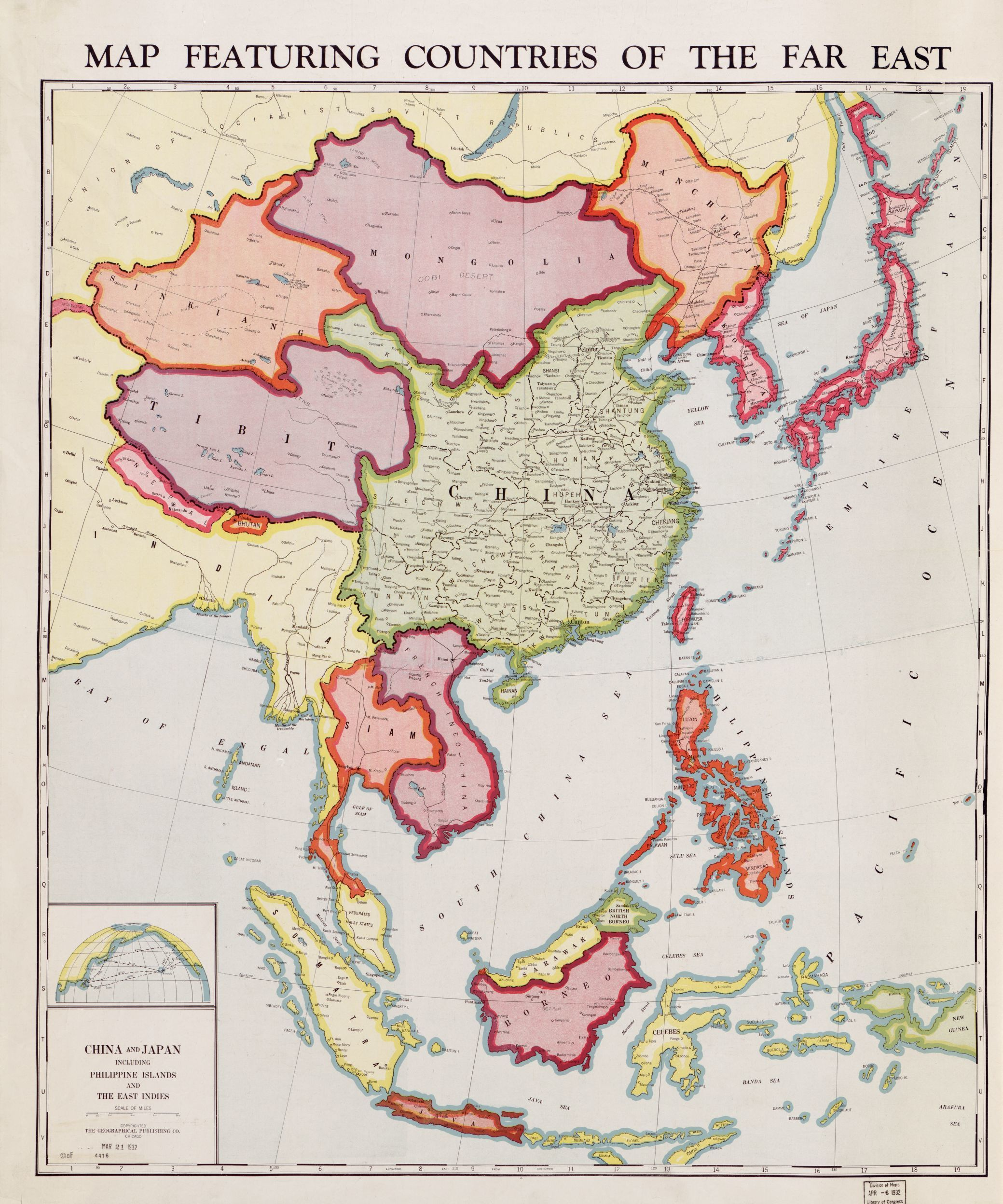 Map Featuring Countries Of The Far East 1932 Map Asia Map